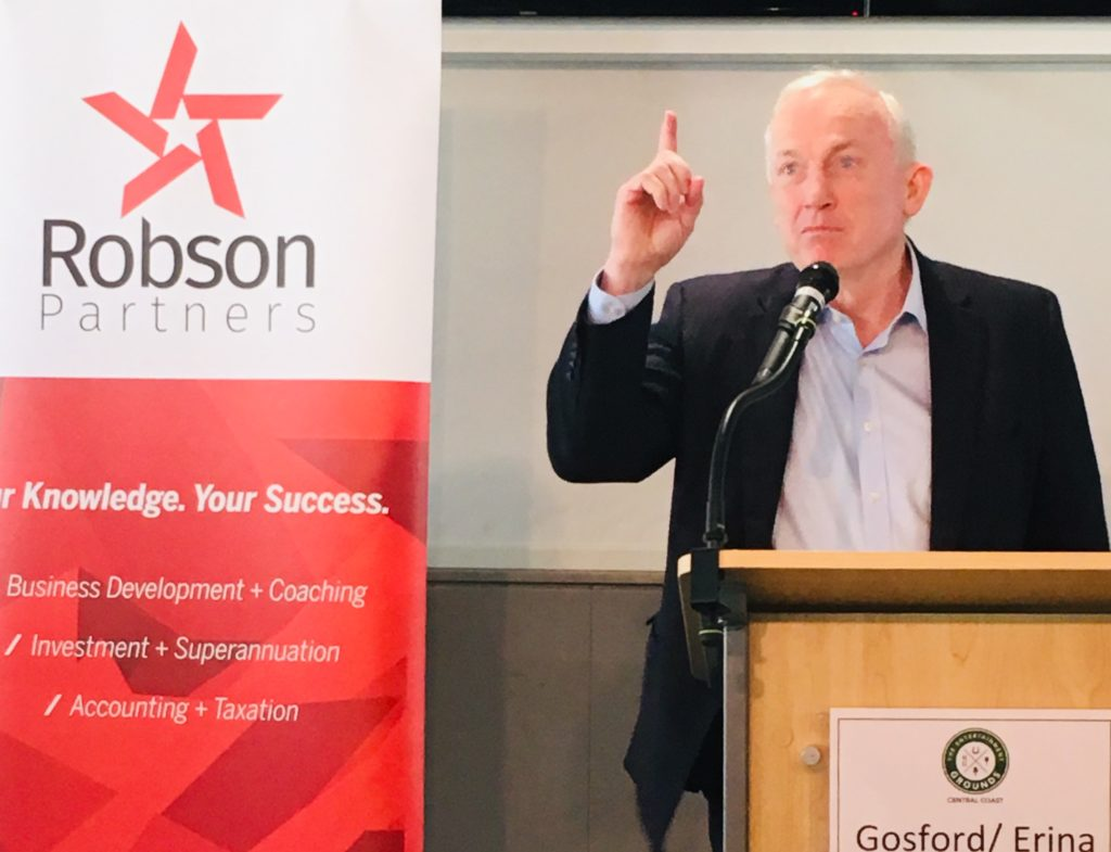 David Smith presenting at Chamber lunch 14 August